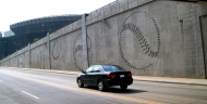tn Custom Baseball Pattern for retaining walls at Yankee Stadium in New York