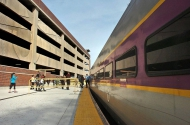 tn Salem Parking Garage, MA using VinyLok Fluted Rib patterns 14312 and 14641 by Unistress for MBTA completed fall 2014